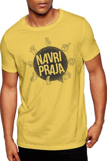 Navri Praja - Gujarati Funky Cotton Tshirt Yellow