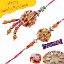 Buy Multicolor Beads Pearls Bhaiya Bhabhi Rakhi Online on Rakshabandhan with India, worldwide delivery options