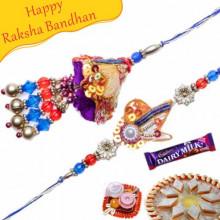 Zardoshi Work Beads, Pearl Bhaiya Bhabhi Rakhi