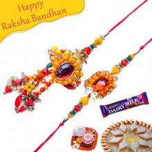 Heavy Crystal With Beads Bhaiya Bhabhi Rakhi