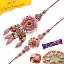 Wooden Beads Thread Bhaiya Bhabhi Rakhi