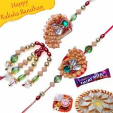 Wooden Beads Multi Color Bhaiya Bhabhi Rakhi