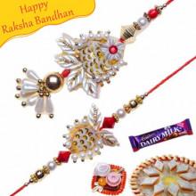 Auspicious Copper Round With Colorfull Beads Bhaiya Bhabhi Rakhi