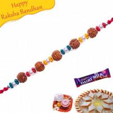Rudraksh And Crystal Beads Bracelet Rakhi