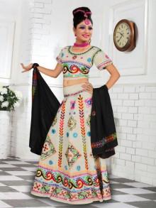 Latest Offwhite Cotton Chaniya Choli For Navratri 2016 - Buy Online