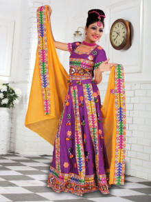 Exclusive Purple Cotton Traditional Chaniya Choli For Navratri 2016 - Buy Online