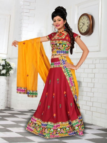 Exclusive Maroon Cotton Traditional Chaniya Choli For Navratri 2016 - Buy Online