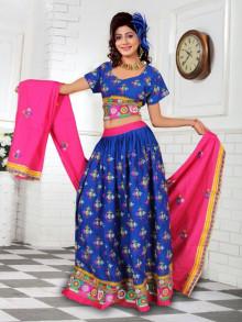 Blue and Pink Traditional Chaniya Choli For Navratri 2016 - Buy Online