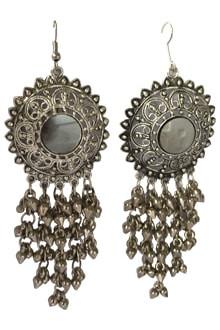 Oxidized Long Joomkha with Mirror & Ghughari