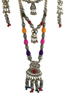 Multicolor Oxidized Western Long set,  Pendant with Ghughari