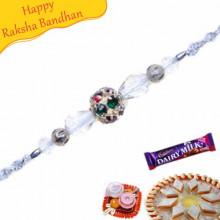 Colourfull American Diamond Ball, Crystal Rakhi