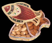 Fish Shaped Minakari Decorative Dryfruit cum Mukhwas Box