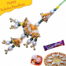 Diamond Shape Colourfull Beads And Crystal Fancy Rakhi