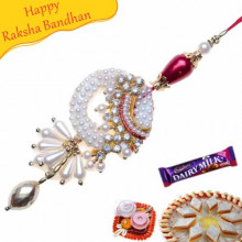 Red And White Diamond With Silver Beads Fancy Rakhi