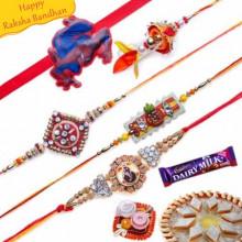 Stones, Zardozi ,Wooden Beads Five Pieces Rakhi Set