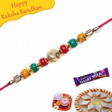 Colourfull Pearls Jewelled Rakhi
