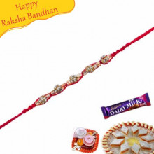 Golden Balls With Studed Diamond Jewelled Rakhi