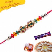Multicolour Diamond Ball Jewelled Rakhi