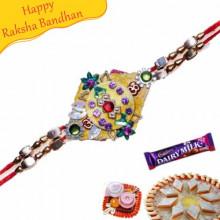 Om, Kundan, Colourfull Beads Mauli Rakhi