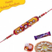 Coloured Velvet Balls With Stones Mauli Rakhi