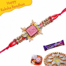 Auspicious Om, Golden Beads Mauli Rakhi