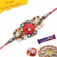 Buy Stone And Glass Beads Mauli Rakhi Online on Rakshabandhan with India, worldwide delivery options
