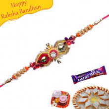 Orange Green And Golden Beads Mauli Rakhi