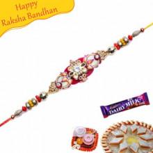 Multicolour Beads Diamond Bracelet Rakhi