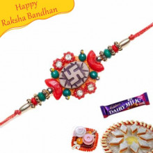 Swastik Beads Diamond Rakhi