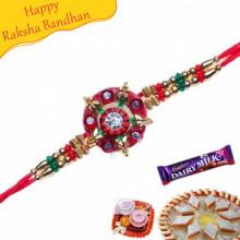 Buy Golden Beads And Green Crystal Mauli Rakhi Online on Rakshabandhan with India, worldwide delivery options