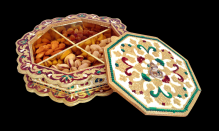 Rangoli Shaped Minakari Decorative Dryfruit cum Mukhwas Box
