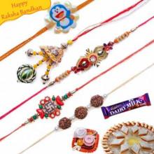 Swastik, Rudraksh, Lumba Five Pieces Rakhi Set
