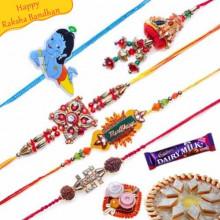 Buy Premium Kids and Jewelled Five Pieces Rakhi Set Online on Rakshabandhan with India, worldwide delivery options