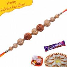 Buy Sandalwood Rudraksh American Diamond Rakhi Online on Rakshabandhan with India, worldwide delivery options