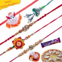 Sandalwood and Diamond Five Pieces Rakhi Set