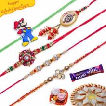 Buy Diamond, Om Lumba Five Pieces Rakhi Online on Rakshabandhan with India, worldwide delivery options