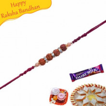 Kundan and Rudraksh Beads Rakhi with American Diamonds hoops