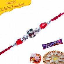 Silver Beads, White Crystal Pearl Rakhi