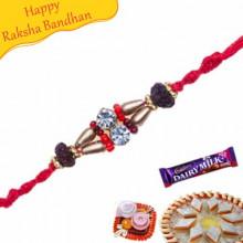 Wooden Beads Thread Jewelled Rakhi