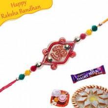 Om Multicolor Valvet Ball Rakhi