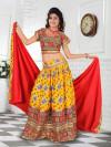 Dark Yellow Cotton Chaniya Choli For Navratri