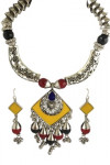 Oxidized Necklace Set (Red & Yellow)