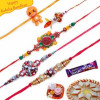 Kundans, Velvet thread work, Om Five Pieces Rakhi Set