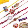 Diamond, Bracelet Rudraksh Chotabheem Five Pieces Rakhi