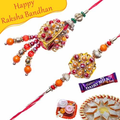 Buy Multicolor Beads Pearls Bhaiya Bhabhi Rakhi Online On