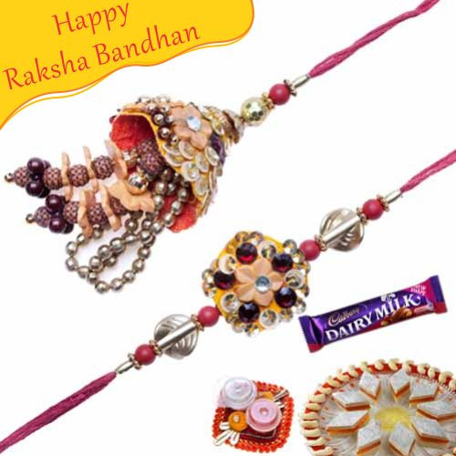 Buy Copper Beds Diamond Bhaiya Bhabhi Rakhi Online On