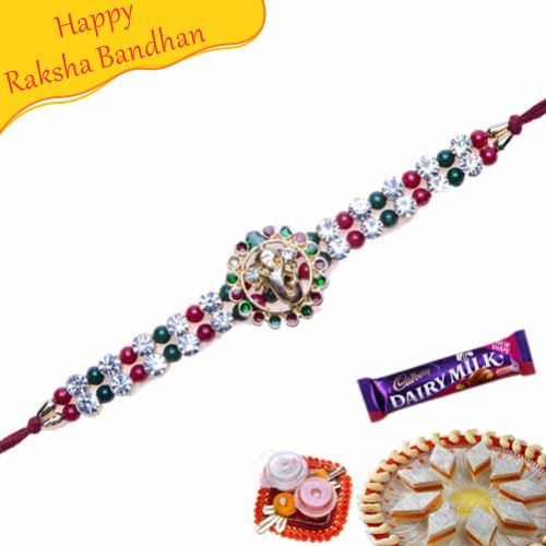 Buy Ganesh Diamond Bracelet Rakhi Online On Rakshabandhan