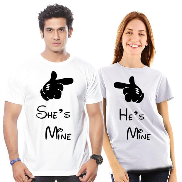 He is mine she is mine couple tshirt combo buy online india for Buy couple t shirts online india