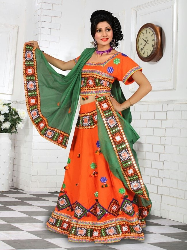 Latest Orange Cotton Chaniya Choli For Navratri 2016 Buy