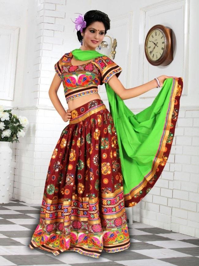 Maroon Cotton Chaniya Choli For Navratri 2016 Buy Online